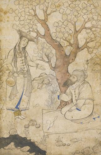 Девушка и старик у потока. Персия, начало 17 века