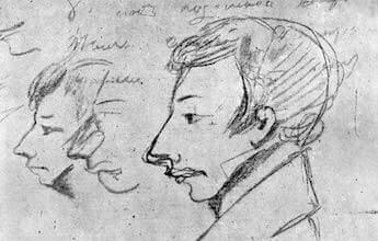 """Рисунок в рукописи V главы """"Евгения Онегина"""", 1826"""